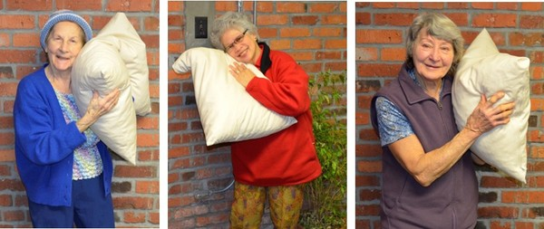 Seniors with pillows
